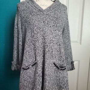 Style & Co Gray Pocketed Tunic Sweater Sz L